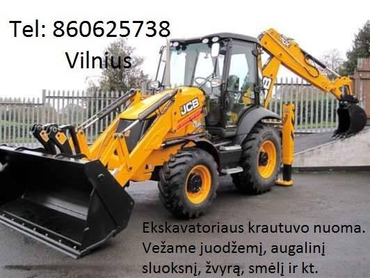 Vezu zvyra, smeli, juodzemi 860625738 Vilnius Racioko nuoma, ekskavatoriaus paslaugos, tralo nuoma, transportavimo pasl