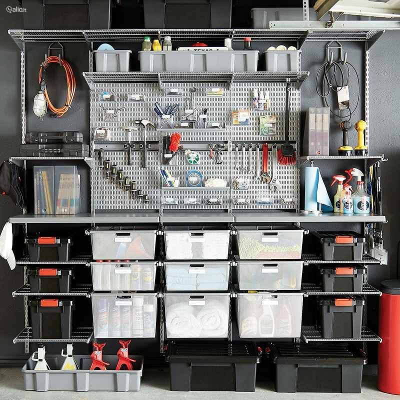 ELFA lentynu sistema garažui, naujas lentynos, kabyklos