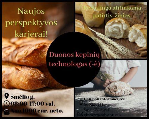 Duonos kepinių technologas (-ė) (būtina patirtis)