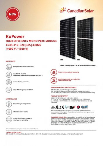 Saulės elektrinės moduliai Canadian Solar 315-325w