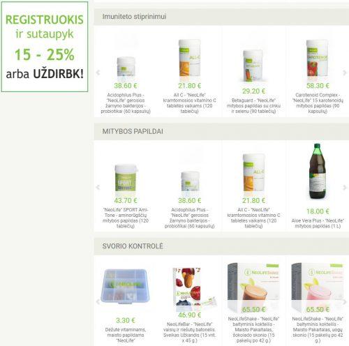 NeoLife GNLD produktai, maisto papildai, mitybos papildai maistinės medžiagos, valymo ir kūno priežiūros priemonės