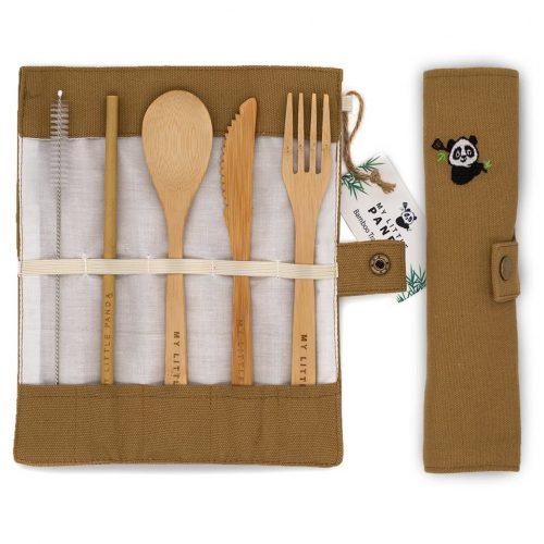 Kelioniniai bambukiniai stalo įrankiai
